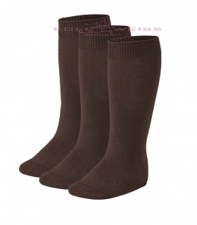 CALCETINES ALTOS LISOS PACK3 401-MARRON