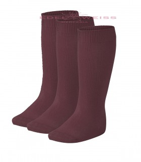 CALCETINES ALTOS LISOS PACK3 061-GRANATE